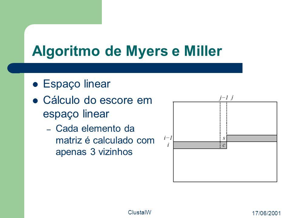 17/06/2001 ClustalW Algoritmo de Myers e Miller Espaço linear Cálculo do escore em espaço linear – Cada elemento da matriz é calculado com apenas 3 vi