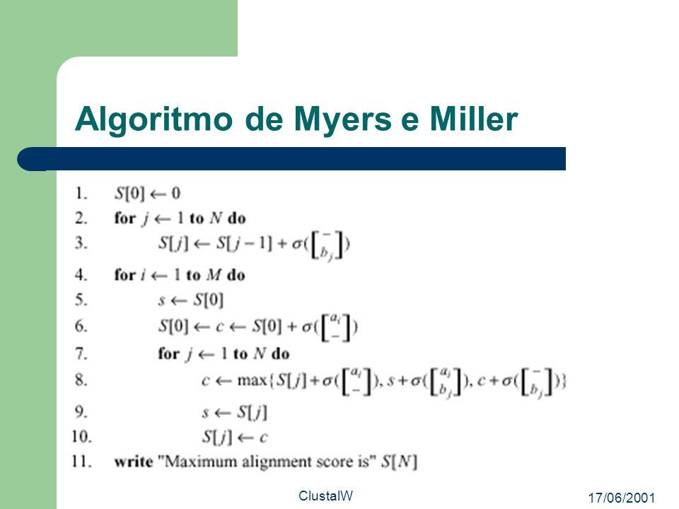 17/06/2001 ClustalW Algoritmo de Myers e Miller