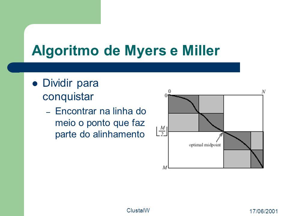 17/06/2001 ClustalW Algoritmo de Myers e Miller Dividir para conquistar – Encontrar na linha do meio o ponto que faz parte do alinhamento
