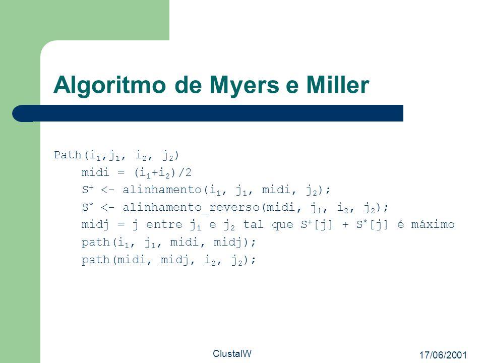 17/06/2001 ClustalW Algoritmo de Myers e Miller Path(i 1,j 1, i 2, j 2 ) midi = (i 1 +i 2 )/2 S + <- alinhamento(i 1, j 1, midi, j 2 ); S * <- alinham