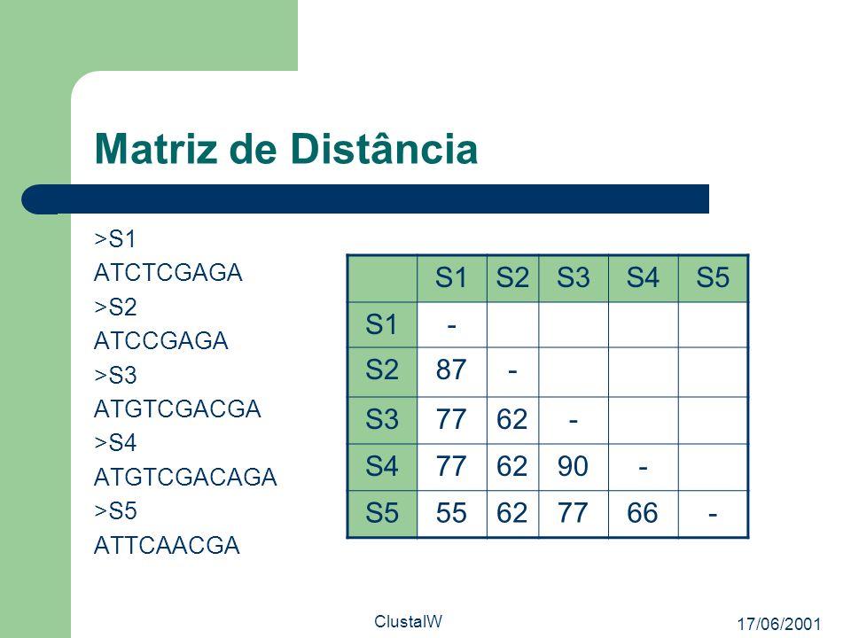 17/06/2001 ClustalW Matriz de Distância >S1 ATCTCGAGA >S2 ATCCGAGA >S3 ATGTCGACGA >S4 ATGTCGACAGA >S5 ATTCAACGA S1S2S3S4S5 S1- S287- S37762- S4776290-