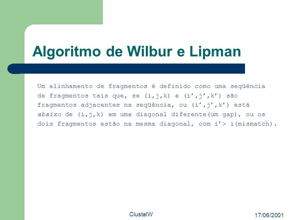 17/06/2001 ClustalW Algoritmo de Wilbur e Lipman Um alinhamento de fragmentos é definido como uma seqüência de fragmentos tais que, se (i,j,k) e (i,j,
