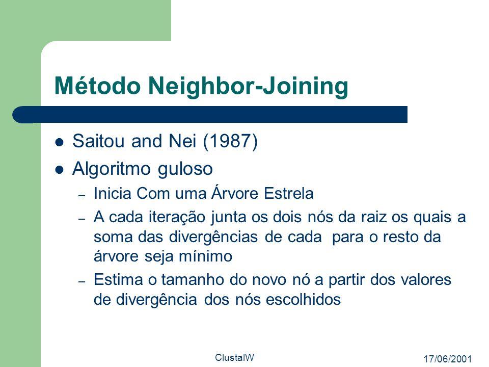 17/06/2001 ClustalW Método Neighbor-Joining Saitou and Nei (1987) Algoritmo guloso – Inicia Com uma Árvore Estrela – A cada iteração junta os dois nós
