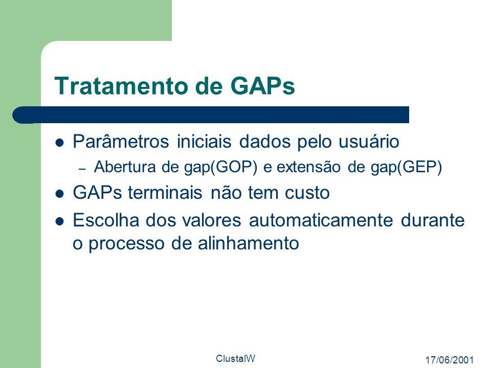 17/06/2001 ClustalW Tratamento de GAPs Parâmetros iniciais dados pelo usuário – Abertura de gap(GOP) e extensão de gap(GEP) GAPs terminais não tem cus