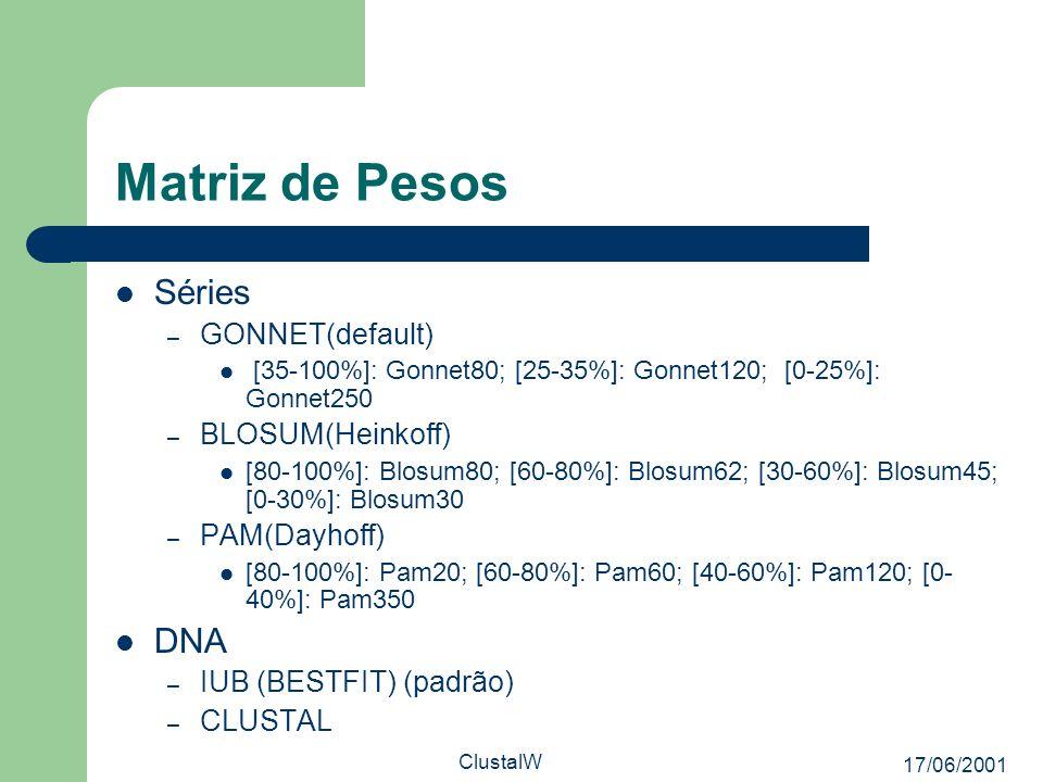 17/06/2001 ClustalW Matriz de Pesos Séries – GONNET(default) [35-100%]: Gonnet80; [25-35%]: Gonnet120; [0-25%]: Gonnet250 – BLOSUM(Heinkoff) [80-100%]