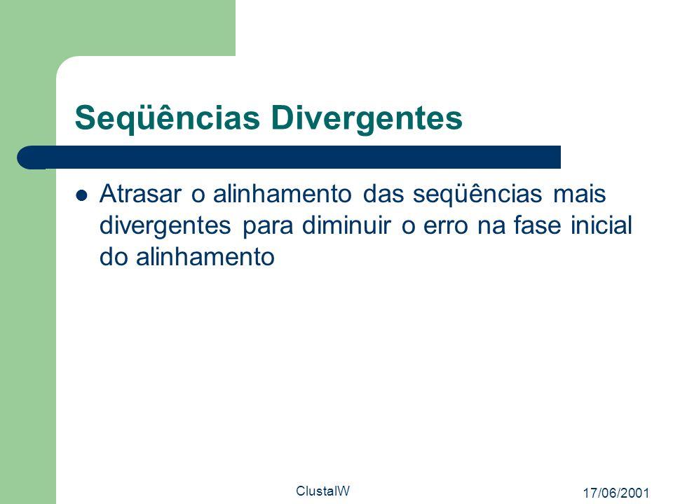 17/06/2001 ClustalW Seqüências Divergentes Atrasar o alinhamento das seqüências mais divergentes para diminuir o erro na fase inicial do alinhamento