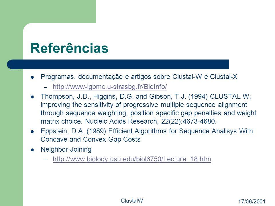 17/06/2001 ClustalW Referências Programas, documentação e artigos sobre Clustal-W e Clustal-X – http://www-igbmc.u-strasbg.fr/BioInfo/ http://www-igbm