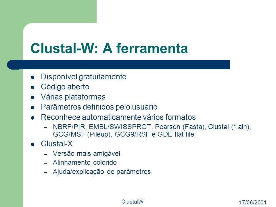 17/06/2001 ClustalW Clustal-W: A ferramenta Disponível gratuitamente Código aberto Várias plataformas Parâmetros definidos pelo usuário Reconhece auto