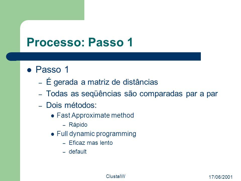17/06/2001 ClustalW Processo: Passo 1 Passo 1 – É gerada a matriz de distâncias – Todas as seqüências são comparadas par a par – Dois métodos: Fast Ap