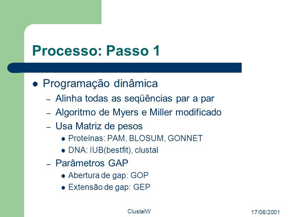 17/06/2001 ClustalW Processo: Passo 1 Programação dinâmica – Alinha todas as seqüências par a par – Algoritmo de Myers e Miller modificado – Usa Matri