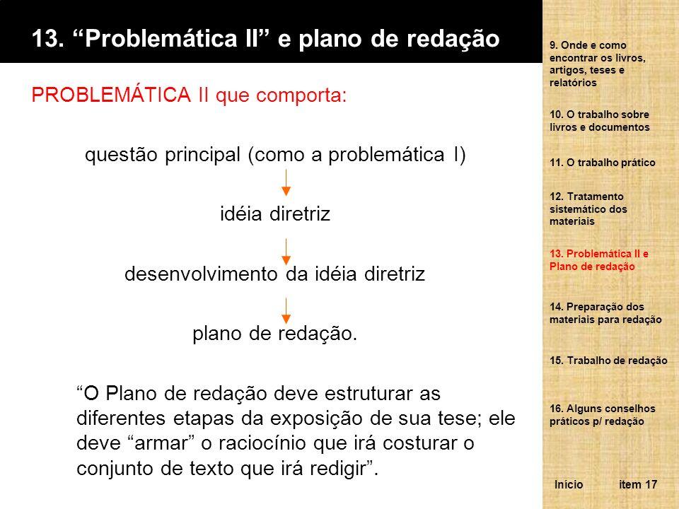 13. Problemática II e plano de redação PROBLEMÁTICA II que comporta: questão principal (como a problemática I) idéia diretriz desenvolvimento da idéia