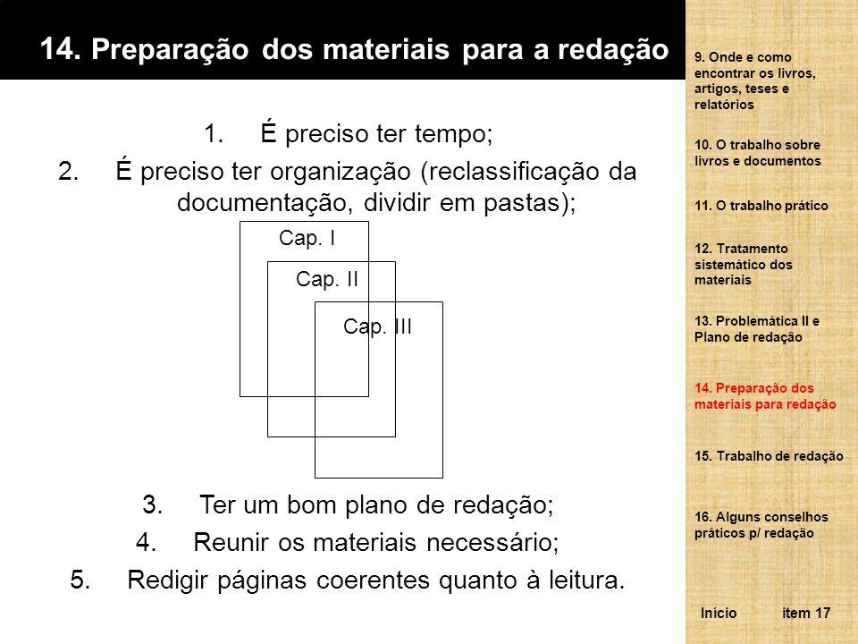 14. Preparação dos materiais para a redação 1.É preciso ter tempo; 2.É preciso ter organização (reclassificação da documentação, dividir em pastas); 3