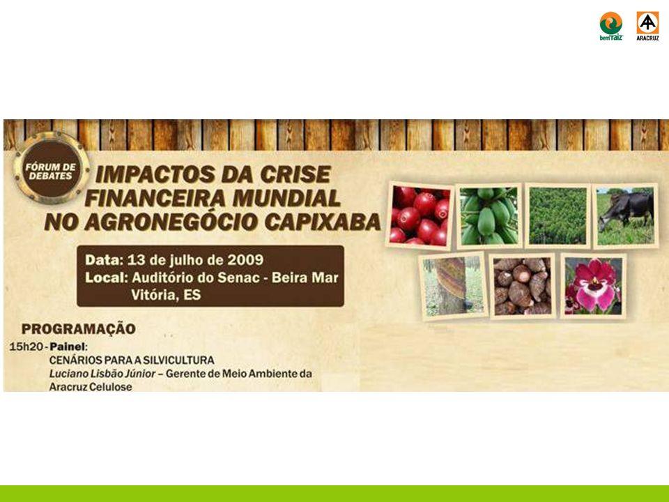 Situação antes x durante a Crise 1° Semestre de 2008: Aumento de 5% nas exportações de celulose; Investimentos anunciados no setor de celulose brasileiro previam um acréscimo de 13 milhões de ton até 2015.