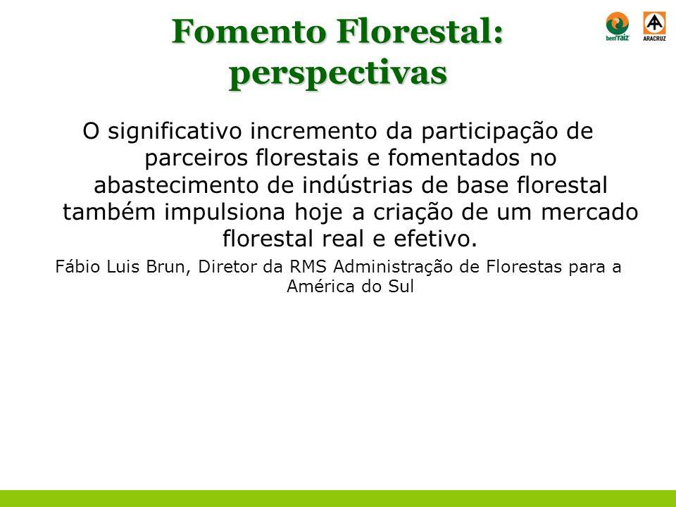 Fomento Florestal: perspectivas O significativo incremento da participação de parceiros florestais e fomentados no abastecimento de indústrias de base