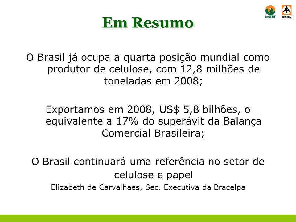 Em Resumo O Brasil já ocupa a quarta posição mundial como produtor de celulose, com 12,8 milhões de toneladas em 2008; Exportamos em 2008, US$ 5,8 bil