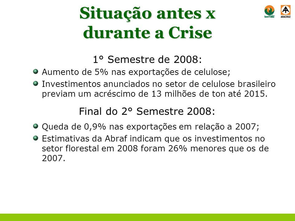 Situação antes x durante a Crise 1° Semestre de 2008: Aumento de 5% nas exportações de celulose; Investimentos anunciados no setor de celulose brasile