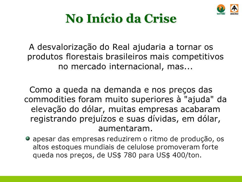 No Início da Crise A desvalorização do Real ajudaria a tornar os produtos florestais brasileiros mais competitivos no mercado internacional, mas... Co