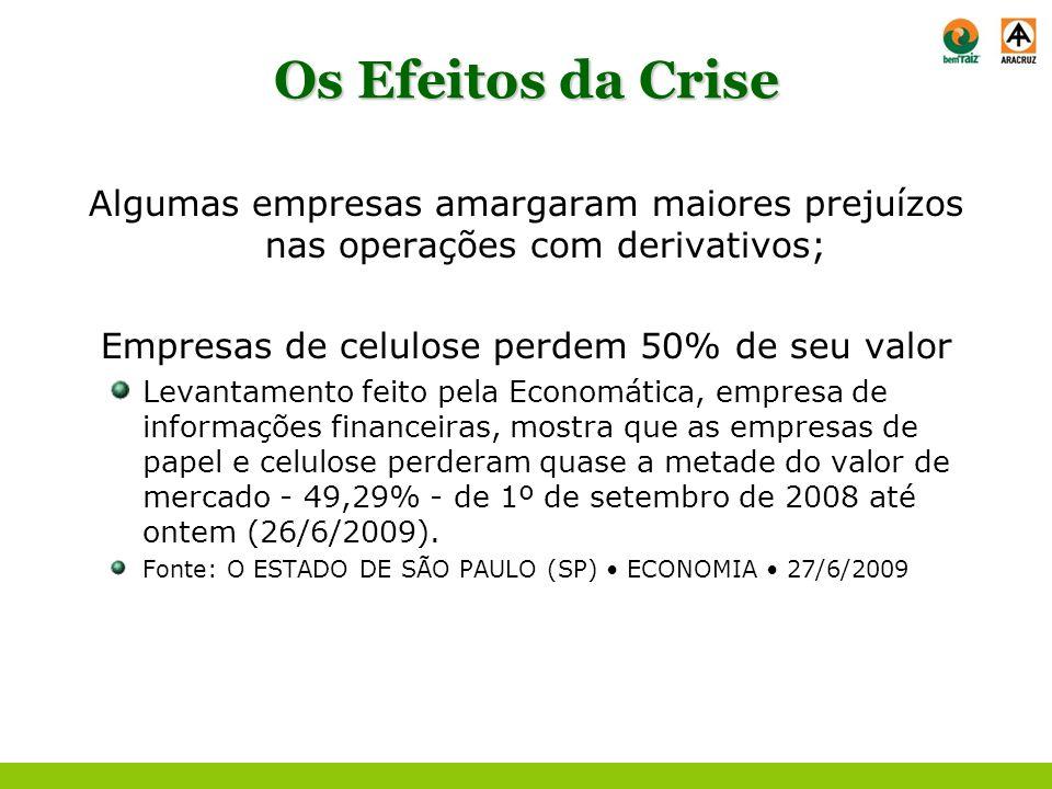 Os Efeitos da Crise Algumas empresas amargaram maiores prejuízos nas operações com derivativos; Empresas de celulose perdem 50% de seu valor Levantame
