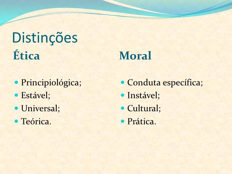 Distinções Ética Moral Principiológica; Estável; Universal; Teórica. Conduta específica; Instável; Cultural; Prática.