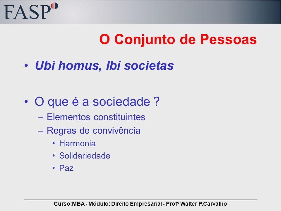 _____________________________________________________________________________ Curso:MBA - Módulo: Direito Empresarial - Profº Walter P.Carvalho O Conj