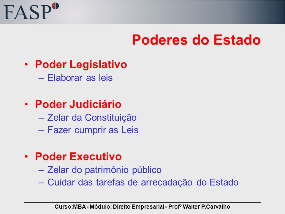_____________________________________________________________________________ Curso:MBA - Módulo: Direito Empresarial - Profº Walter P.Carvalho Podere