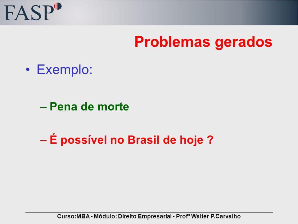 _____________________________________________________________________________ Curso:MBA - Módulo: Direito Empresarial - Profº Walter P.Carvalho Proble