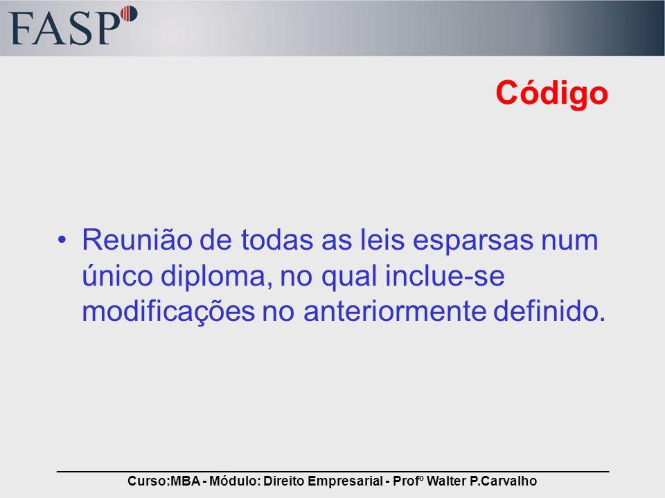 _____________________________________________________________________________ Curso:MBA - Módulo: Direito Empresarial - Profº Walter P.Carvalho Código