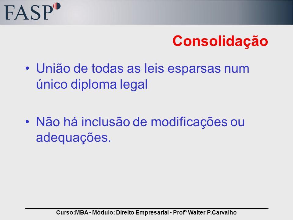 _____________________________________________________________________________ Curso:MBA - Módulo: Direito Empresarial - Profº Walter P.Carvalho Consol
