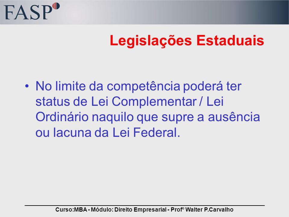 _____________________________________________________________________________ Curso:MBA - Módulo: Direito Empresarial - Profº Walter P.Carvalho Legisl