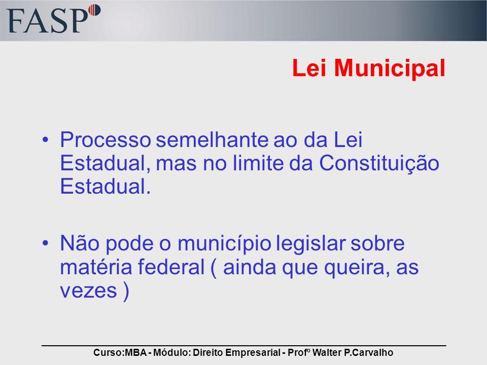_____________________________________________________________________________ Curso:MBA - Módulo: Direito Empresarial - Profº Walter P.Carvalho Lei Mu