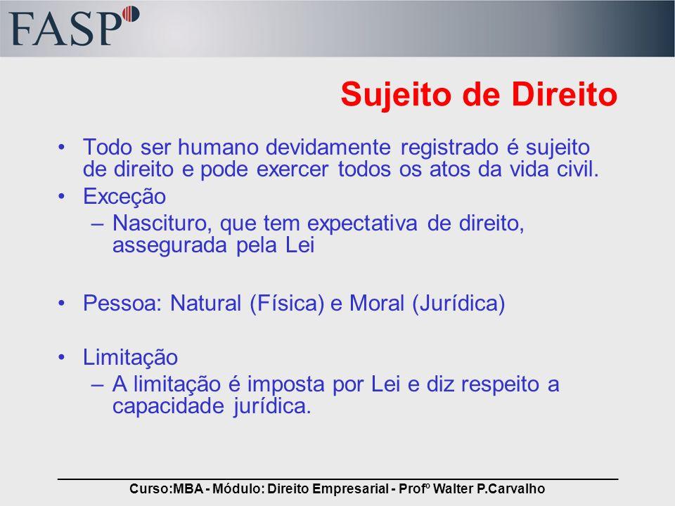 _____________________________________________________________________________ Curso:MBA - Módulo: Direito Empresarial - Profº Walter P.Carvalho Sujeit