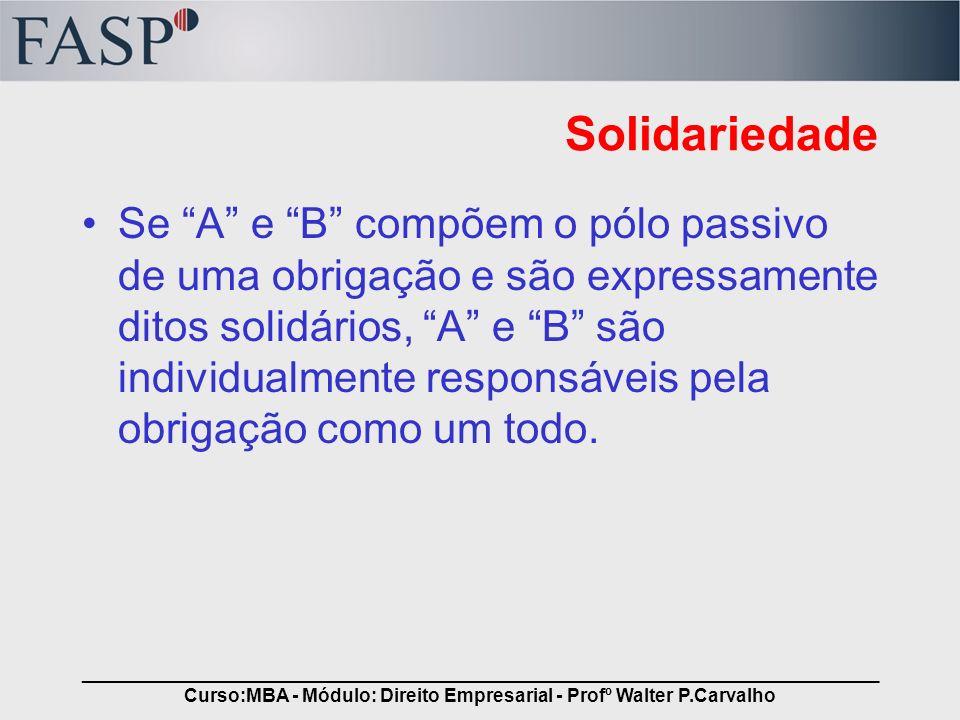 _____________________________________________________________________________ Curso:MBA - Módulo: Direito Empresarial - Profº Walter P.Carvalho Solida