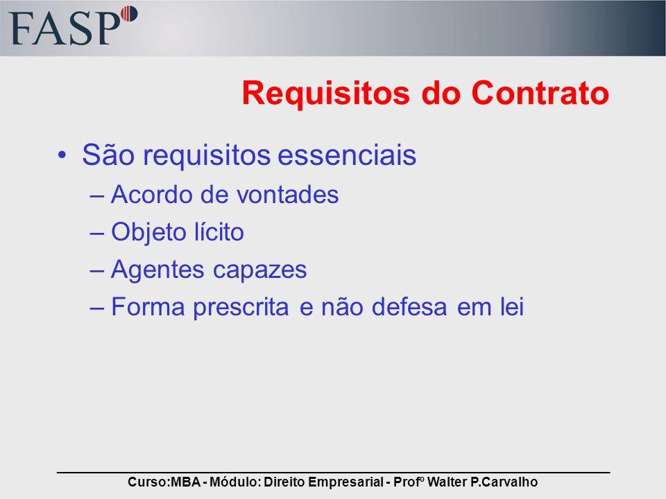 _____________________________________________________________________________ Curso:MBA - Módulo: Direito Empresarial - Profº Walter P.Carvalho Requis