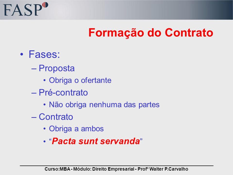 _____________________________________________________________________________ Curso:MBA - Módulo: Direito Empresarial - Profº Walter P.Carvalho Formaç