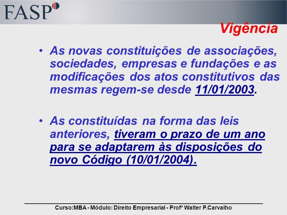 _____________________________________________________________________________ Curso:MBA - Módulo: Direito Empresarial - Profº Walter P.Carvalho Vigênc