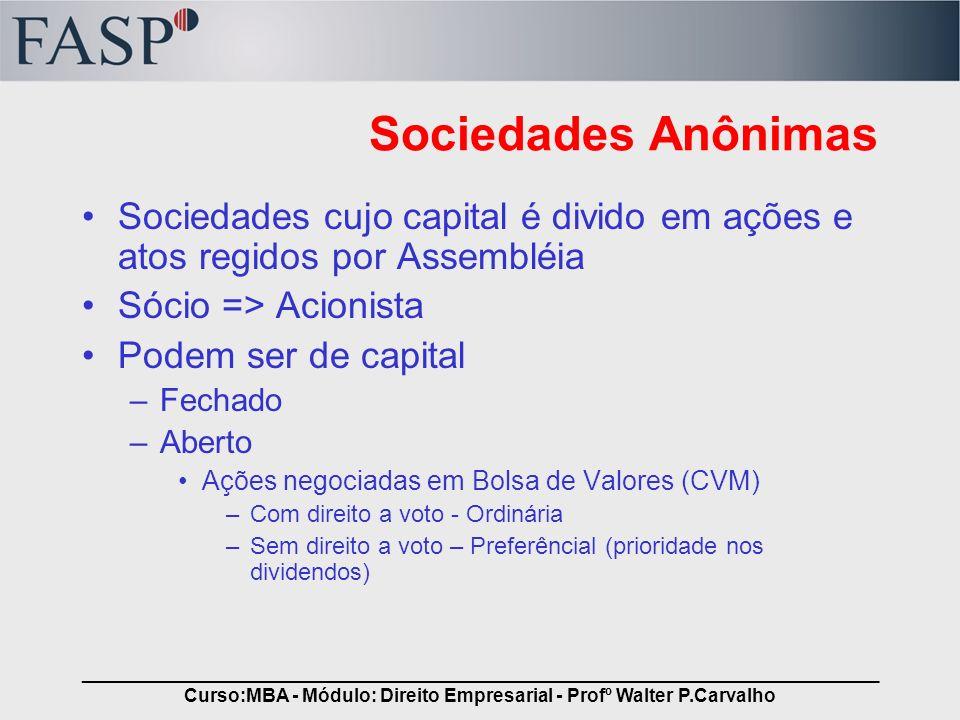 _____________________________________________________________________________ Curso:MBA - Módulo: Direito Empresarial - Profº Walter P.Carvalho Socied