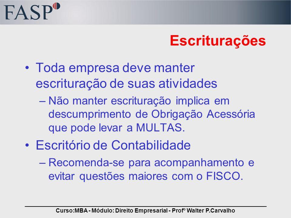 _____________________________________________________________________________ Curso:MBA - Módulo: Direito Empresarial - Profº Walter P.Carvalho Escrit