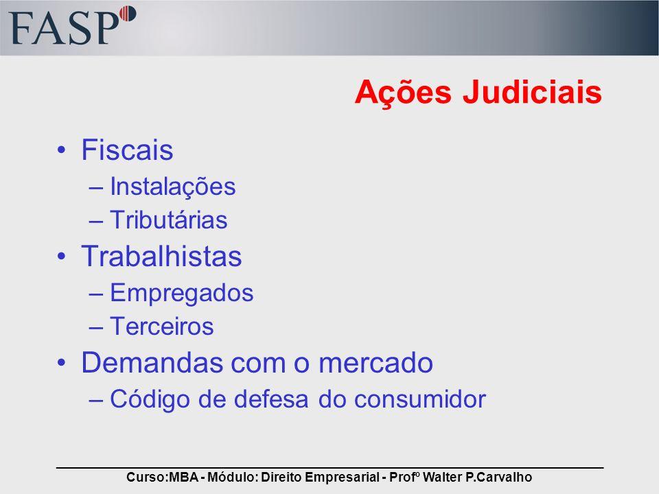 _____________________________________________________________________________ Curso:MBA - Módulo: Direito Empresarial - Profº Walter P.Carvalho Ações