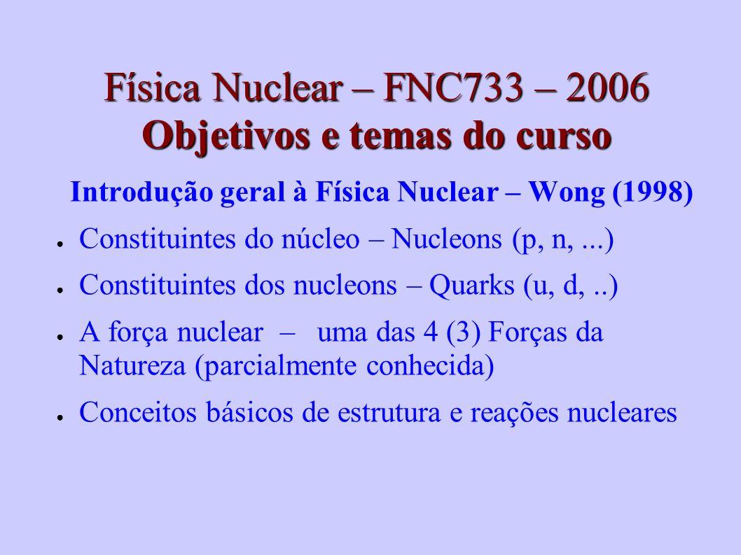 Física Nuclear – FNC733 – 2006 Objetivos e temas do curso Introdução geral à Física Nuclear – Wong (1998) Constituintes do núcleo – Nucleons (p, n,...) Constituintes dos nucleons – Quarks (u, d,..) A força nuclear – uma das 4 (3) Forças da Natureza (parcialmente conhecida) Conceitos básicos de estrutura e reações nucleares