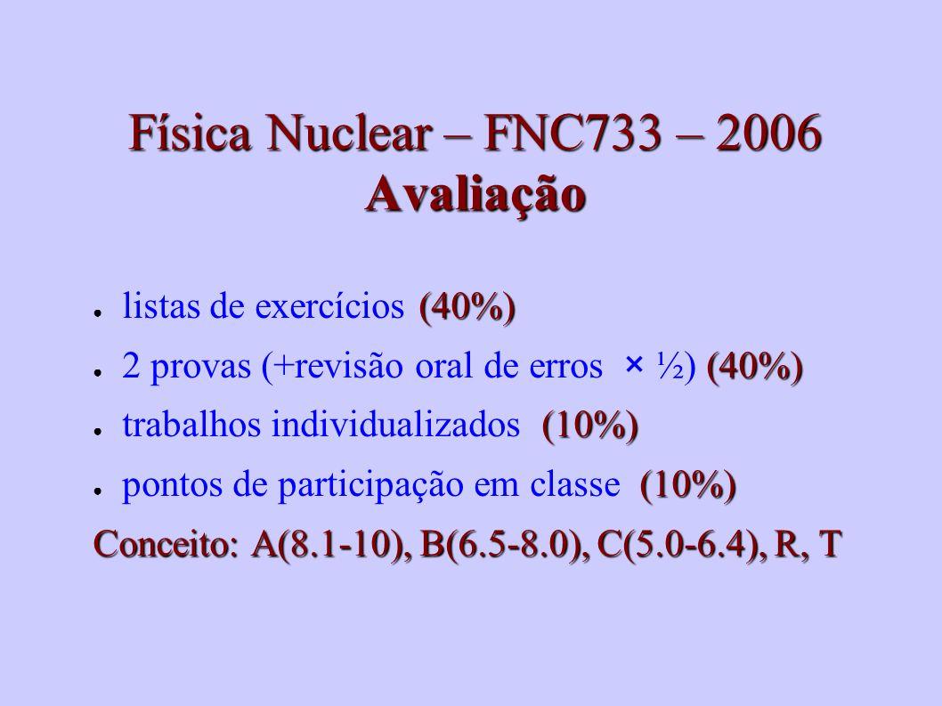 Física Nuclear – FNC733 – 2006 Avaliação (40%) listas de exercícios (40%) (40%) 2 provas (+revisão oral de erros × ½) (40%) (10%) trabalhos individual