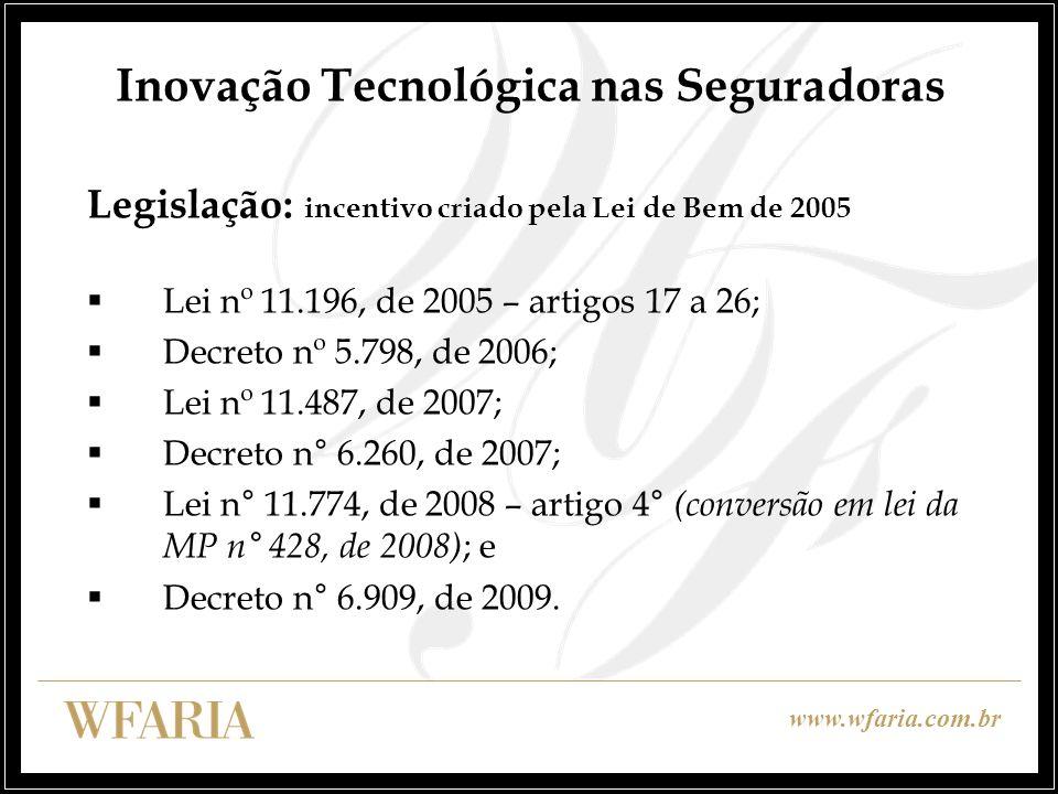 www.wfaria.com.br Inovação Tecnológica nas Seguradoras Legislação: incentivo criado pela Lei de Bem de 2005 Lei nº 11.196, de 2005 – artigos 17 a 26;