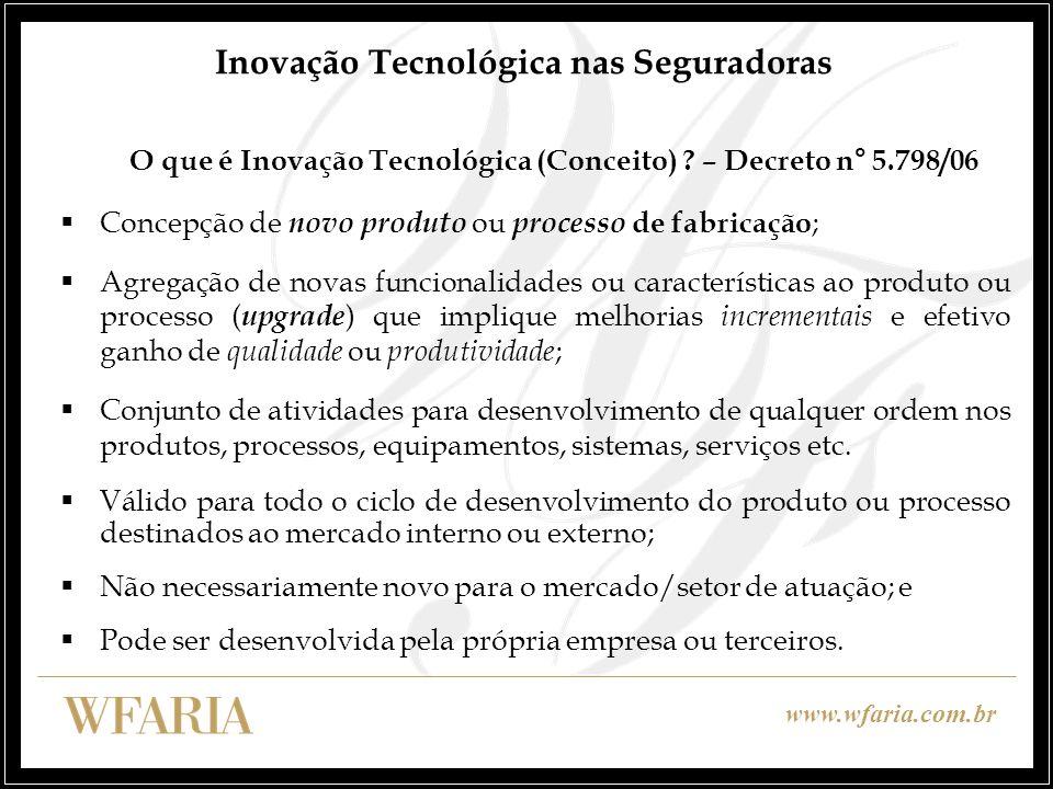 www.wfaria.com.br Inovação Tecnológica nas Seguradoras O que é Inovação Tecnológica (Conceito) ? – Decreto n° 5.798/06 Concepção de novo produto ou pr