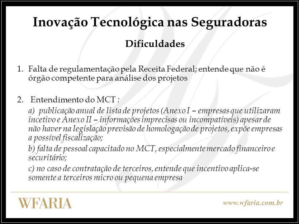 www.wfaria.com.br Inovação Tecnológica nas Seguradoras Dificuldades 1.Falta de regulamentação pela Receita Federal; entende que não é órgão competente