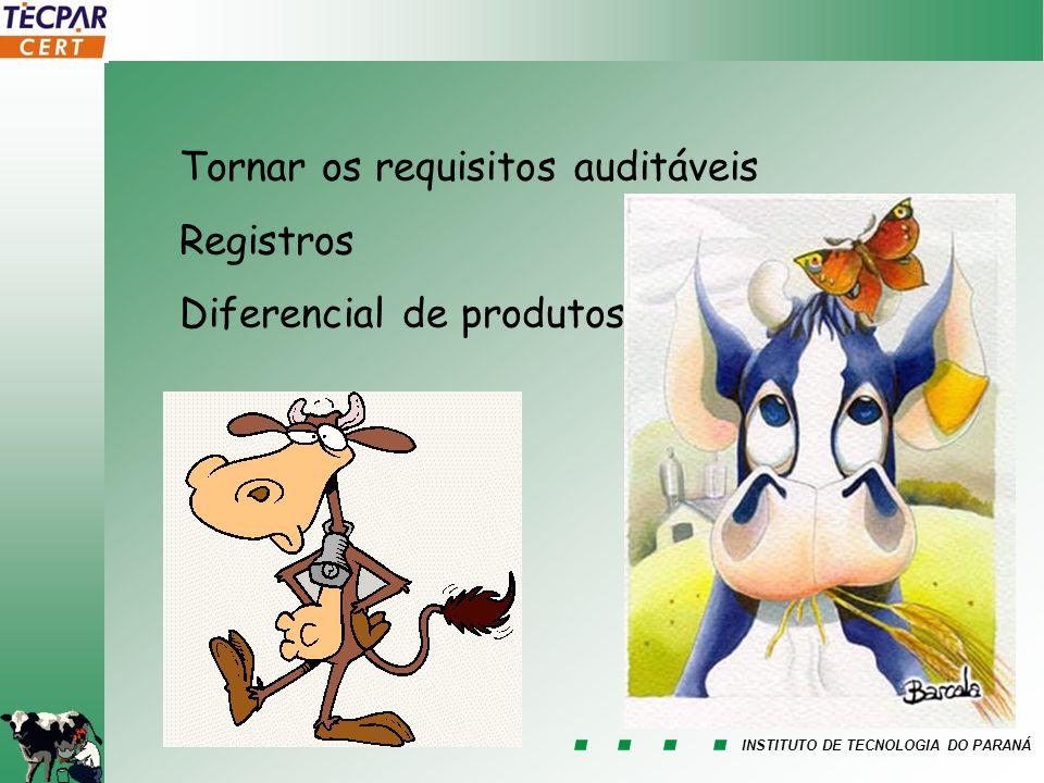 INSTITUTO DE TECNOLOGIA DO PARANÁ Tornar os requisitos auditáveis Registros Diferencial de produtos