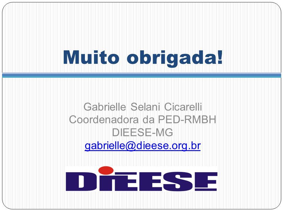Muito obrigada! Gabrielle Selani Cicarelli Coordenadora da PED-RMBH DIEESE-MG gabrielle@dieese.org.br