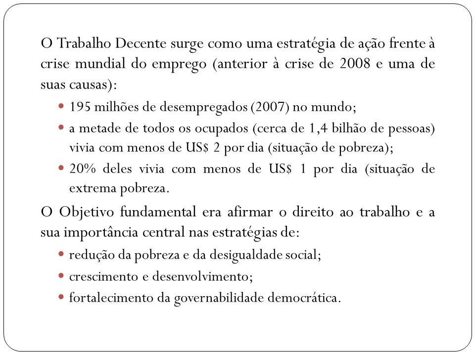 Como o conceito de Trabalho Decente chegou ao Brasil A promoção do trabalho decente tornou-se uma prioridade política do governo brasileiro, a partir de uma série de conferências e reuniões internacionais, realizadas entre setembro de 2003 e novembro de 2005.