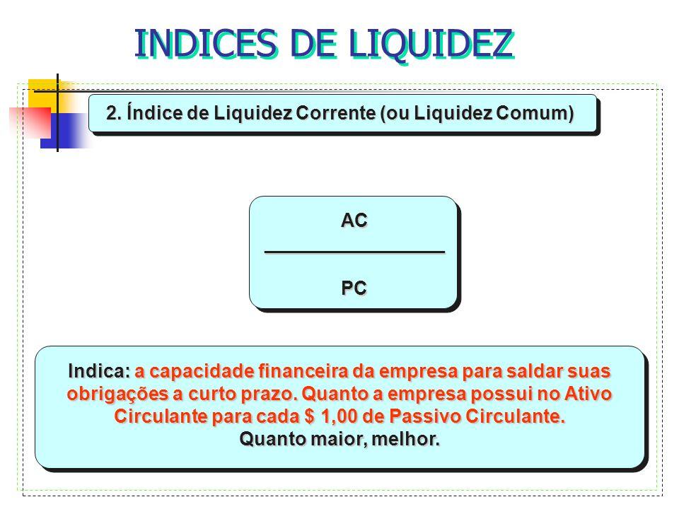 INDICES DE LIQUIDEZ 2. Índice de Liquidez Corrente (ou Liquidez Comum) AC_________________PC Indica: a capacidade financeira da empresa para saldar su