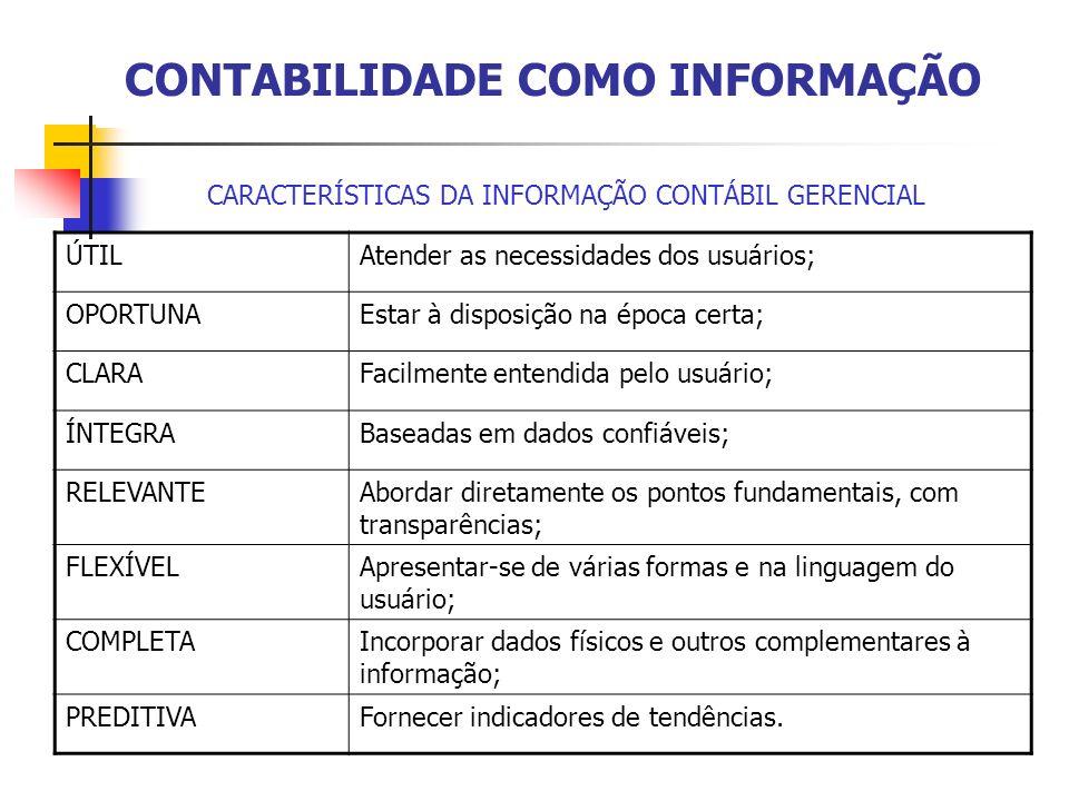 CONTABILIDADE COMO INFORMAÇÃO CARACTERÍSTICAS DA INFORMAÇÃO CONTÁBIL GERENCIAL ÚTILAtender as necessidades dos usuários; OPORTUNAEstar à disposição na