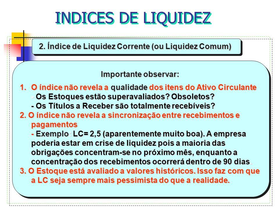 2. Índice de Liquidez Corrente (ou Liquidez Comum) Importante observar: 1.O índice não revela a qualidade dos itens do Ativo Circulante - Os Estoques