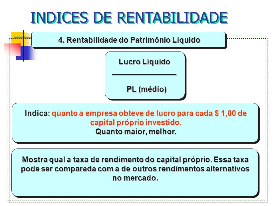 4. Rentabilidade do Patrimônio Líquido Lucro Líquido _______________ PL (médio) PL (médio) Indica: quanto a empresa obteve de lucro para cada $ 1,00 d